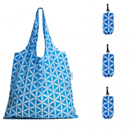 HOLYLUCK set of 3pcs Reusable Grocery Bags,Heavy Duty Foldable Shopping Tote Bag, Holds Up To 42 lbs,DHL free shipping to USA-Sky Blue Flower