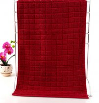 37x76 - Red 100% Cotton Grid Hand Towels