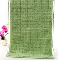 37x76 - Green 100% Cotton Grid Hand Towels