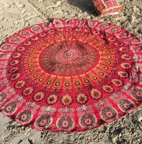 150x150 -  Red Peacock Feather Pattern Round Chiffon Printed Beach Towel