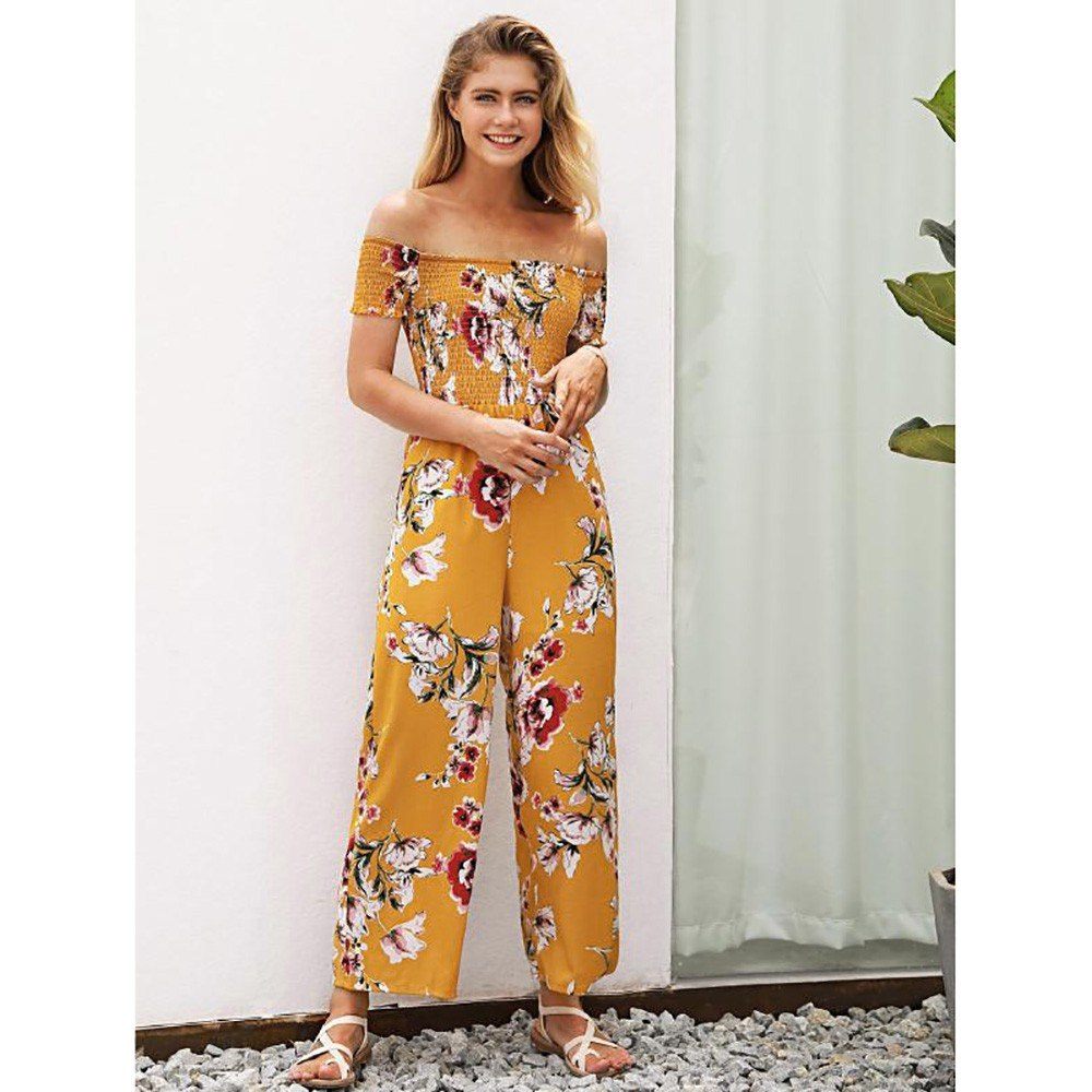 0eaf22e5dd5a sexy jumpsuits   rompers womens jumpsuit summer Woman Off Shoulder  Strapless Floral Print High Waist Jumpsuits Playsuits Item NO  32890094418