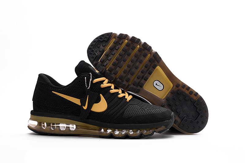 Men Air Max 2017 Black Gold Running Shoes Sneakers. Loading zoom