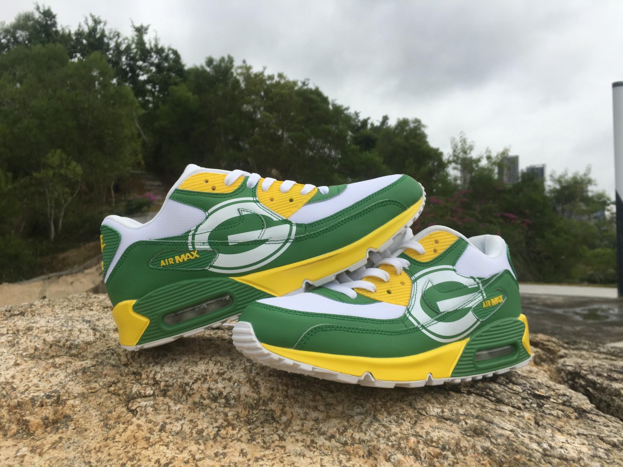 new style 458b4 ac652 ... Jordan (FREE SHIPPING) Men Green Bay Packers Custom Nike Air Max 90  Shoes Sneakers Item ...