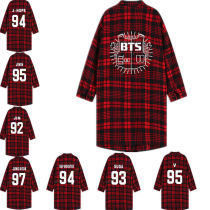 KPOP BTS Blouse Three-Quarter Sleeve Red Plaid Shirt Bangtang Boys Shirt Overshirt