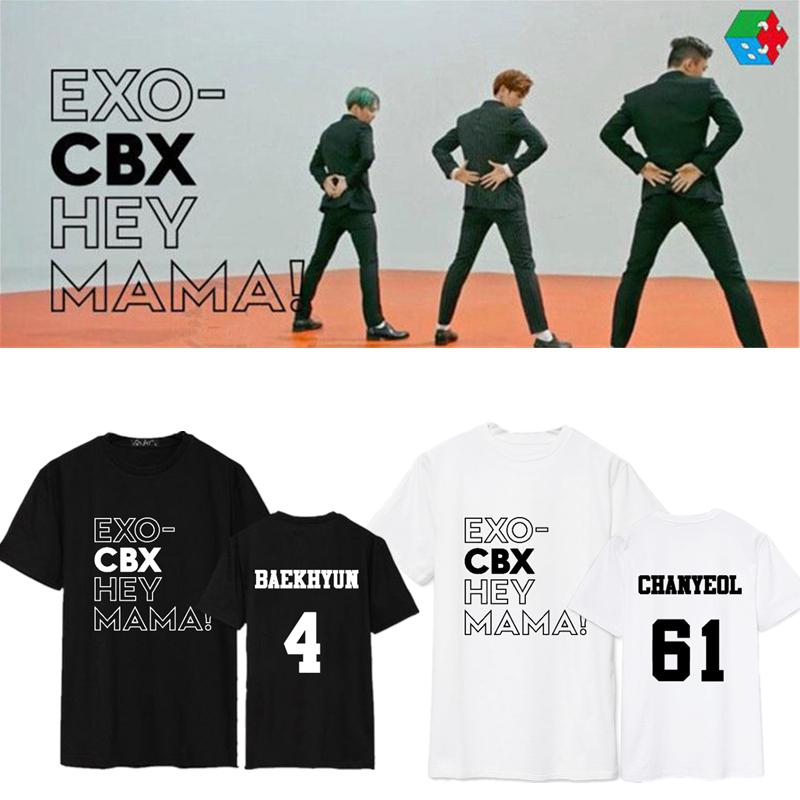 KPOP EXO CBX T-shirt Hey mama T-shirt unisexe T-shirt Chen baekhyun xiumin Coton