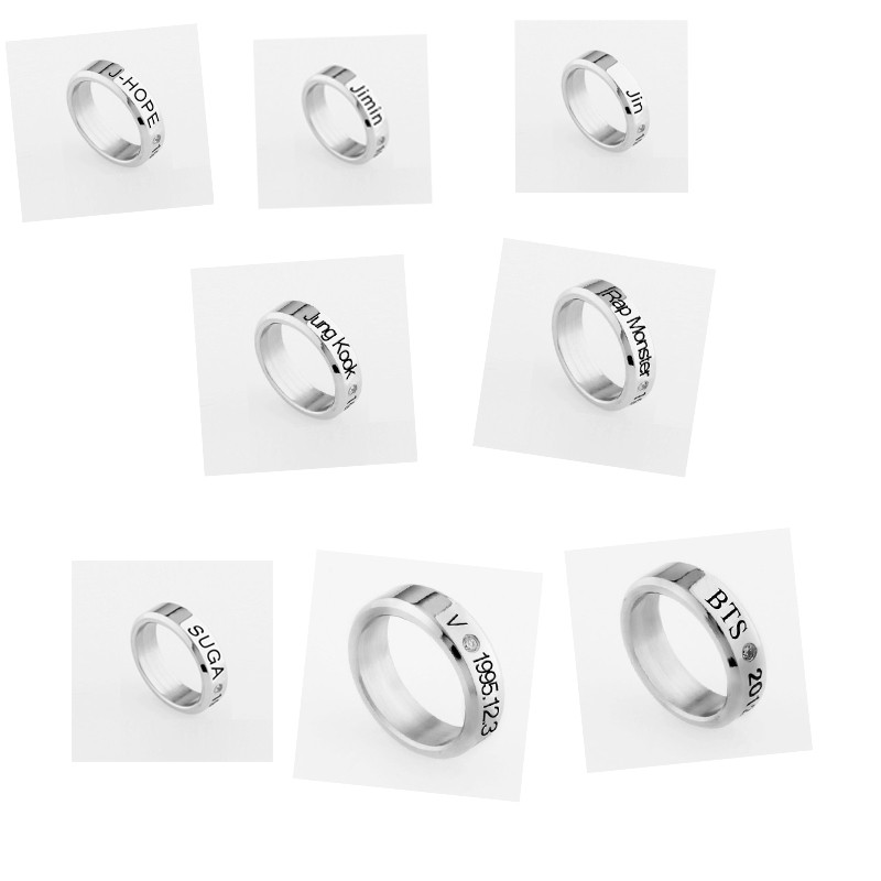 dfea09bed9e ALLKPOPER KPOP BTS Jung Kook Ring Stainless Steel Bangtan Boys Jimin Suga  Rap Monster ARMY Item NO  466566