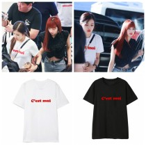 ALLKPOPER KPOP Blackpink Rose T-shirt Airport Fashion Tshirt Casual Letter Tee Tops