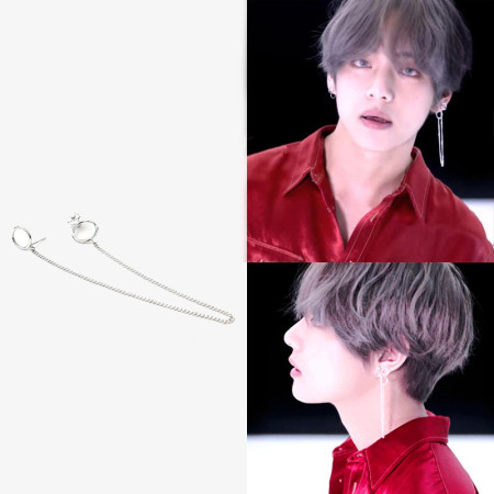1PC KPOP BTS V Earrings Bangtan Boys V Stud Doulbe Ring Chain Earrings Fashion