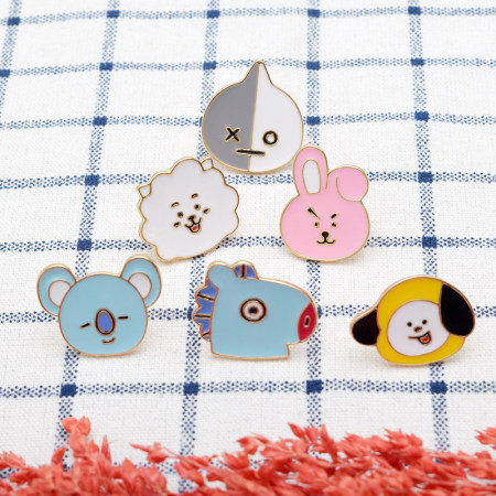 KPOP BTS Badge Cute Chest Pin Bangtan Boys Brooch J-HOPE JIN SUGA JIMIN V TATA MANG Koya
