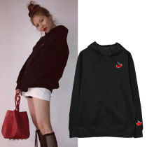 Kpop Hyun A with the cherry autumn and winter plus velvet sweater men and women ins hoodie jacket printed loose tops