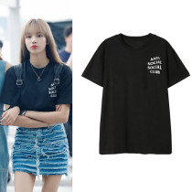 KPOP Blackpink T-shirt LISA airport private clothing same short sleeve,shirt,LISA