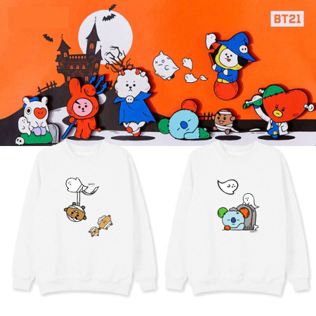 Kpop BTS sweater Bangtan boys Halloween clothes new Korean version of cartoon plus velvet jacket men and women spring and autumn