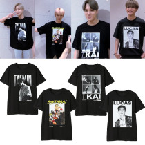 Kpop SUPER M T-shirt official with the same paragraph short-sleeved T-shirt the loose fashion bottoming shirt KAI,LUCAS