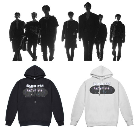 Kpop SUPER M sweater official with the same paragraph hooded sweater plus velvet pullover jacket MARK,LUCAS