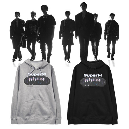 Kpop SUPER M sweater official with the same paragraph clothes hooded sweater plus velvet thin section spring and autumn loose coat