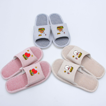 Kpop BTS Slippers Bangtan Boys Spring and Autumn Cartoons Men and Women Couples Indoor Platform Shoes Strips Linen