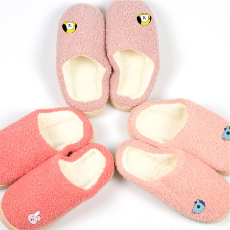Kpop BTS Slippers Bangtan Boys New Home Shoes Plush Warm Non-slip Couples Autumn and Winter Cotton Shoes