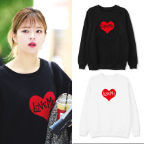 Kpop TWICE Combination Surrounding Street Shooting Clothes with the same Sweater Print Loose Round Neck Sweater