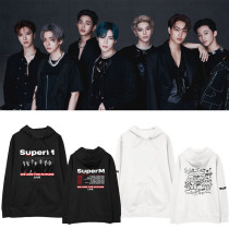 Kpop SUPER M North America Tour Official Hooded Sweatshirt Loose Plus Velvet Thin Men's and Women's Spring and Autumn Coats
