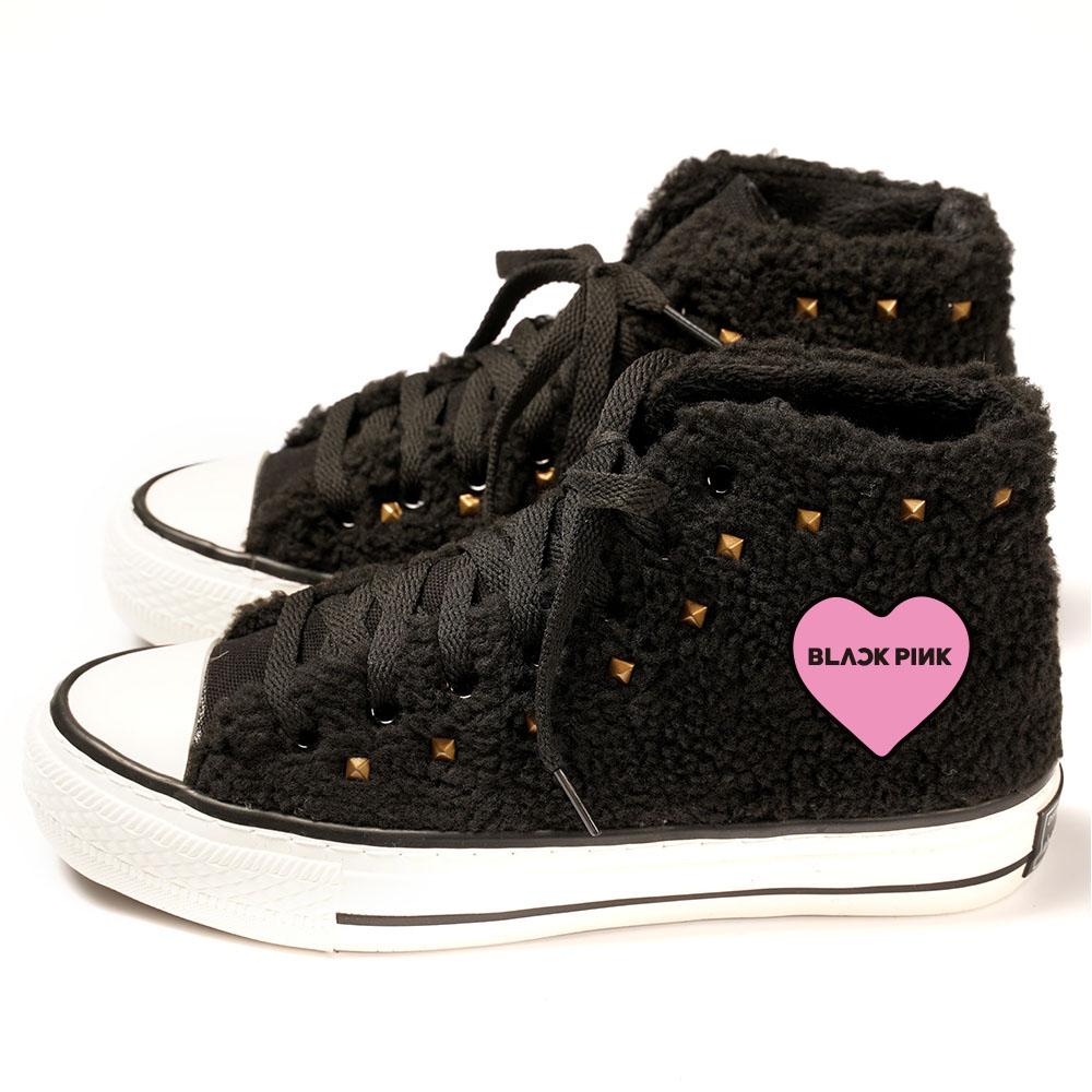 Us 26 99 Kpop Blackpink High Top Shoes Plus Velvet Thick Lamb