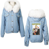 Kpop SUPER M LEE TAEMIN BAEK HYUN KAI Hooded Denim Jacket Large Fur Collar Plus Velvet Cotton Coat