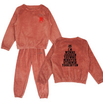 Kpop MONSTA X  Sleepwear Tracksuit  Pants Korean Women's New Coral Fleece Warm Two-Piece Set