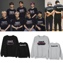 Kpop Super M Round Neck Sweater Surrounding Plus Velvet Thin Spring and Autumn Top  KAI BaekHyun LEE TAEMIN TAEYONG
