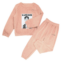 Kpop SUPER M Tracksuit Pajamas Pajamas Two-piece Suit Coral Fleece Warm Korean Autumn Winter Sleepwear