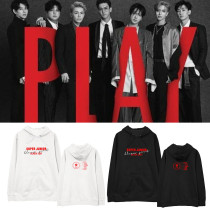 Kpop SUPER JUNIOR Sweatshirt PLAY8 Series Black Suit with the Same Hooded Sweater Plus Velvet thin Spring and Autumn Hoodie