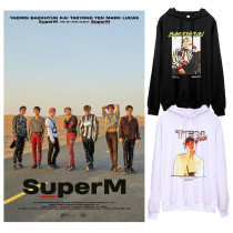 Kpop Super M Sweater Lee Taemin TaeYong Hooded Sweater Plus Velvet Thin Coat