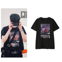 Kpop GOT7 T-shirt YOUNGJAE Airport Street Shoot with the Same Short-sleeved Korean Fashion T-shirt Printing Bottoming Shirt