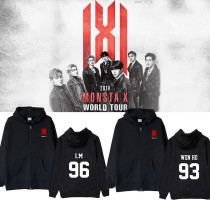 Kpop MONSTA X Sweater World Tour Concert Birthday Zipper sweater Hoodie Jacket