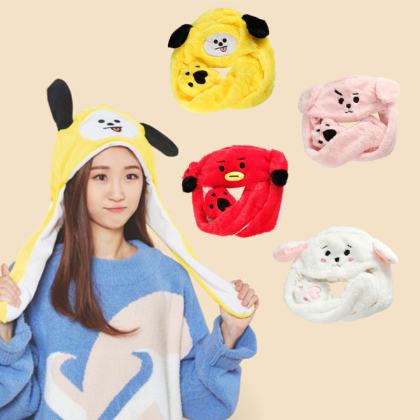BTS Bangtan Boys V JUNG KOOK same cartoon plush hat ears move ear caps