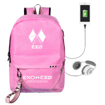 Kpop EXO Six Series BAEK HYUN CHAN YEOL Schoolbag USB Charging Backpack Fashion Travel Canvas Bag