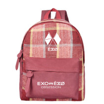 Kpop EXO Six Series BAEK HYUN CHAN YEOL Schoolbag Korean Tri-color Lattice Backpack Canvas Bag