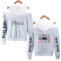 Kpop Stray Kids Hooded Sweater Korean New Loose Strapless Hoodie Jacket
