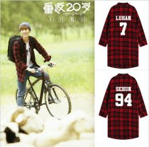 ALLKPOPER Kpop EXO Luhan Three-Quarter Sleeve Shirts Red Plaid Shirt Return twenty year old