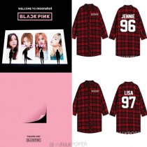 ALLKPOPER Kpop Blackpink Three-Quarter Sleeve Unisex Red Plaid JONNIE Shirt JISOO Outwear