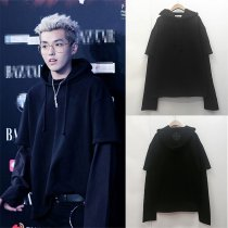 ALLKPOPER Kpop EXO Kris Cap Hoodie Sweater False Two Piece Sweatershirt Merchandise Coat