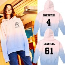 ALLKPOPER KPOP EXO Gradient Cap Hoodie Sweater Unsiex Pink Chanyeol Sweatershirt Coat Kris