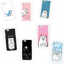 ALLKPOPER Middle Finger Cute Cat Cellphone Case For iPhone 7 Mobile Phone Cover Skins