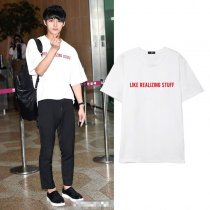 Allkopoper KPOP Seventeen JUN T-shirt Airport Fashion Tshirt 17 Summer Letter Tee Tops