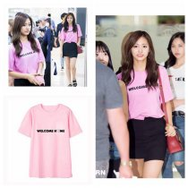 ALLKPOPER KPOP Twice Tzuyu T-shirt Airport Fansion Tshirt Casual Letter Tee Tops Into the New World