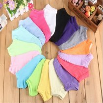 5 pairs Women Candy Color Cotton Sock Slippers Short Socks  Comfortable Fashion Ankle Socks