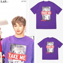KPOP WANNA ONE T-shirt Kang Daniel Tshirt Casual Purple Tee Tops