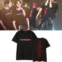 ALLKPOPER KPOP MONSTA X T-shirt WE ARE HERE World Tour Printing O-neck short-sleeved T-shirt summer unisex loose t-shirt
