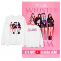 Kpop BLACKPINK sweater with the same paragraph round neck sweater plus velvet thin section loose sweater