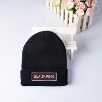 Kpop BLACKPINK Knit Cap Black Embroidered Knit Cap Hat Cap Hat Couple Hat