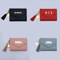 Kpop BTS Wallet Bangtan Boys Card Holder Card Bag Student Korean Korean Cute Tassel Folding Wallet Large Capacity