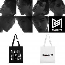Kpop Super M Shoulder Bag Korean Edition Wild Canvas Bag Tote Bag Student Fashion Storage Bag